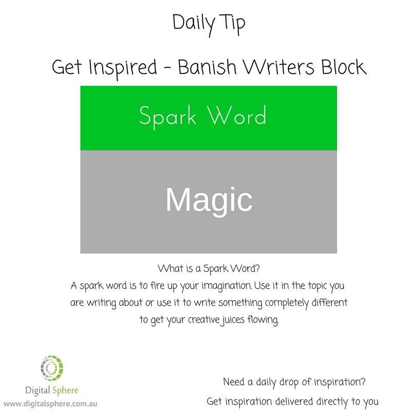 A spark word to help you get your writing flowing